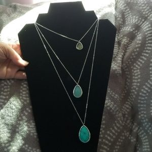 3 strand stone necklace on silver chain
